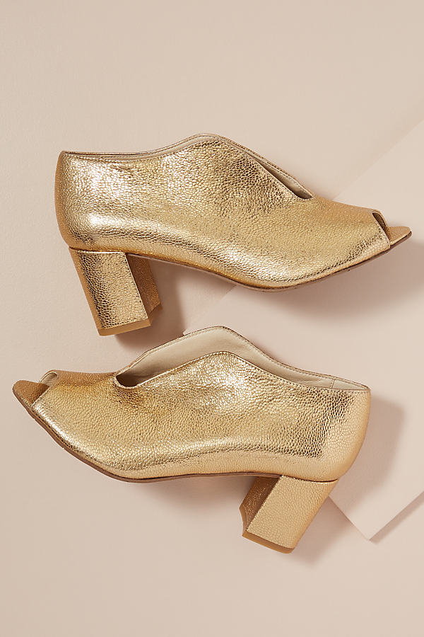 Esska Gyda Metallic-Leather Heels - Gold, Size 36