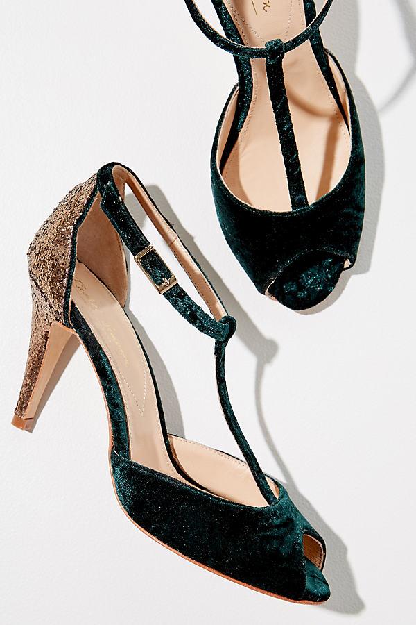 Rachel Simpson Olivia Glitter-Panelled Velvet Heels - Green, Size 36