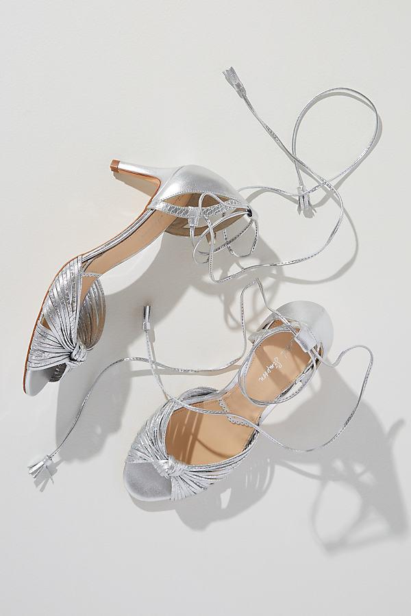 Rachel Simpson Quenby Metallic Ankle-Strap Heels - Silver, Size 37