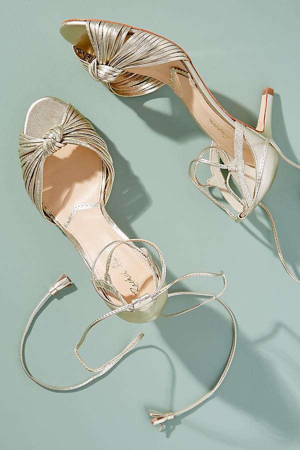 Rachel Simpson Quenby Metallic Ankle-Strap Heels - Gold, Size 36