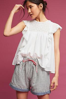 Slide View: 1: Striped Chambray Shorts