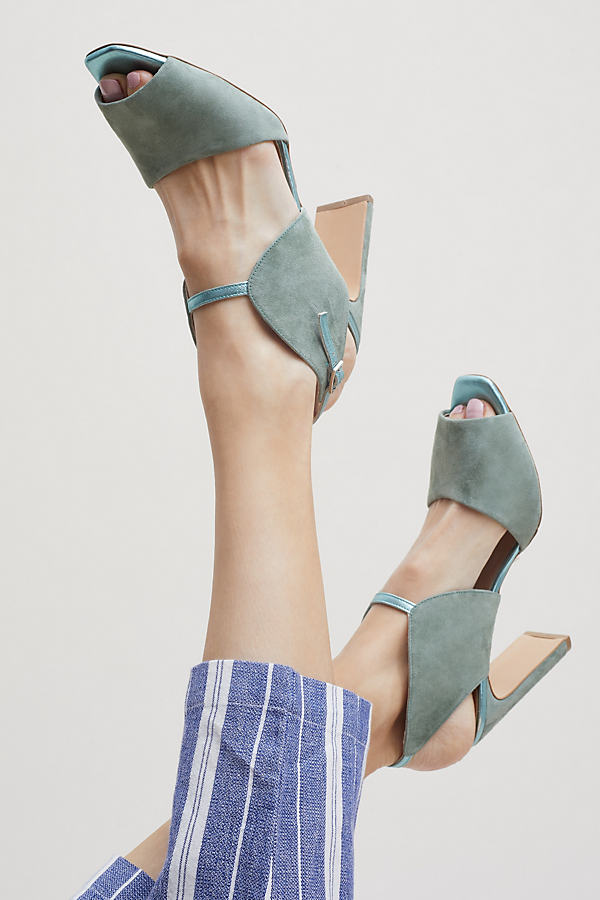 Trudy Cutout Suede Heels - Green, Size 40