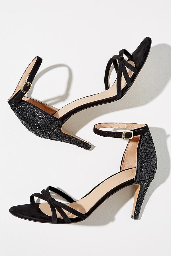 Leanne Glitter-Panel Suede Heels - Black, Size 39