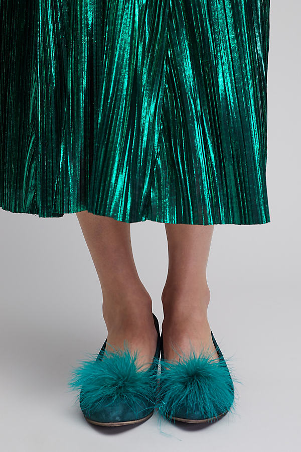 Kara Feather Pom Heels - Green, Size 38