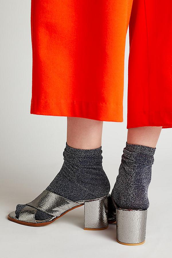 Karinne Metallic Suede Crossover Sandals - Silver, Size 37