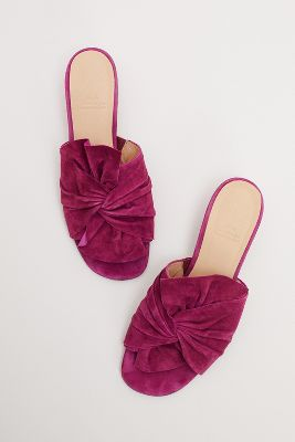 Alise Twisted Front Suede Mules by Anthropologie