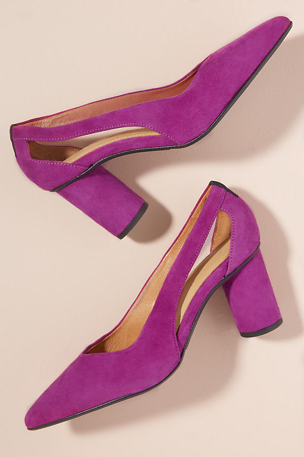 Selected Femme Cut-Out Suede Heels - Pink, Size 37