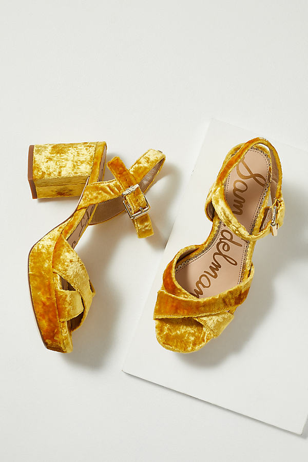 Sam Edelman Crushed-Velvet Block Heels - Yellow, Size 36