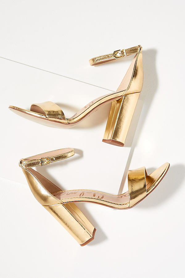 Sam Edelman Tura Metallic-Leather Block Heels - Gold, Size 39