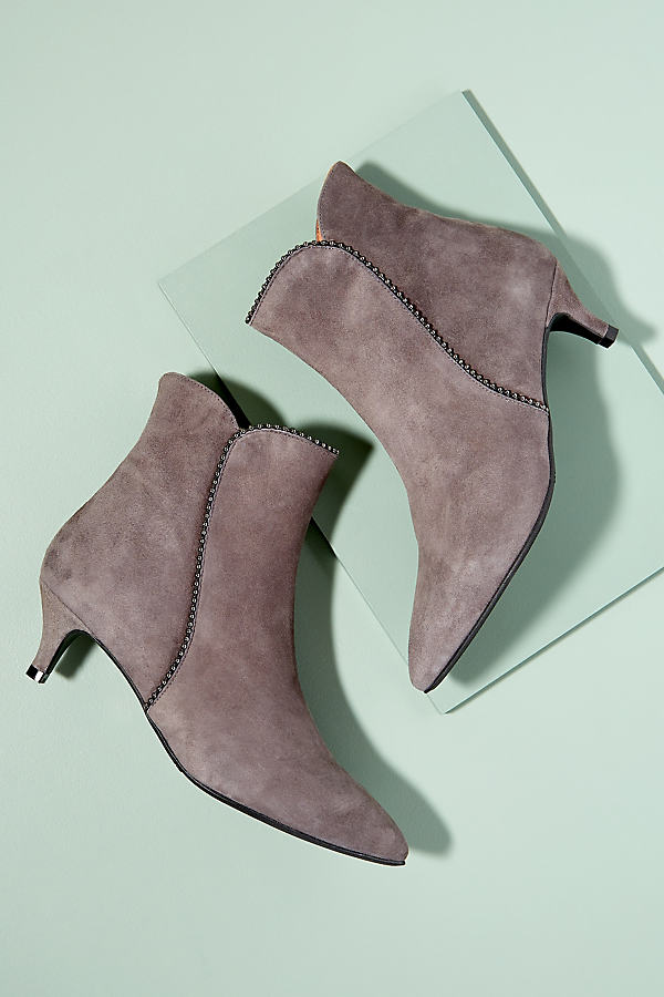 Silver Trimmed Heeled Boots - Grey, Size 37