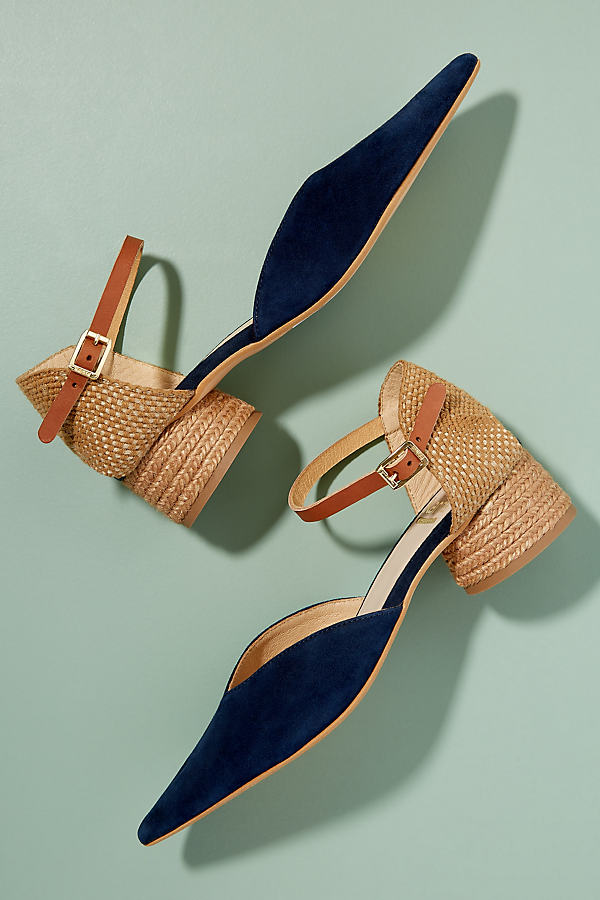 Kanna Jini Raffia-Trimmed Suede Heels - Blue, Size 37