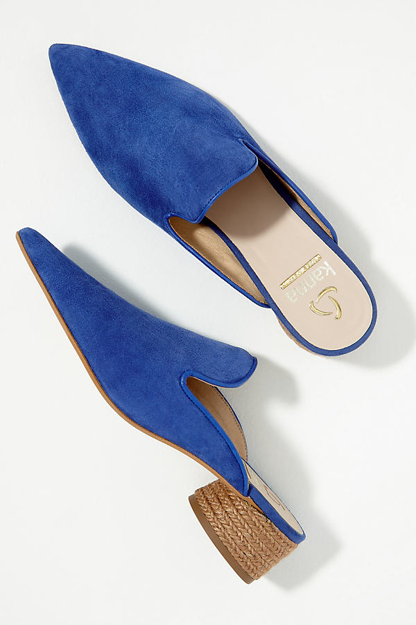 Kanna Raffia-Trimmed Suede Mules - Blue, Size 37