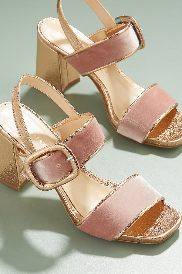 Harleigh Velvet Metallic Sandals - Gold, Size 37