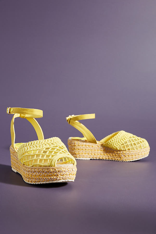 Miss L Fire Toulouse Mesh Espadrille Sandals - Yellow, Size 41