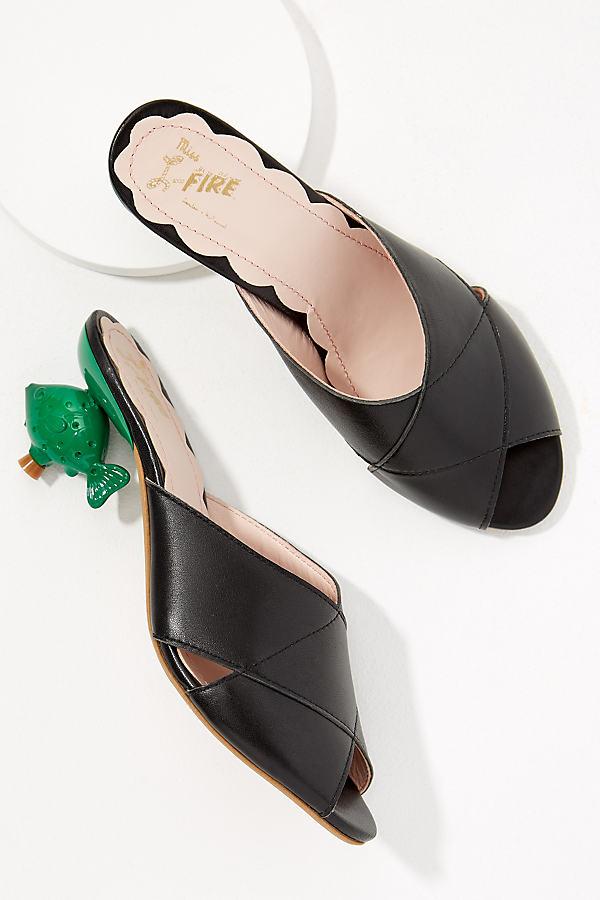 Miss L Fire Briona Fish-Heel Leather Mules - Black, Size 38