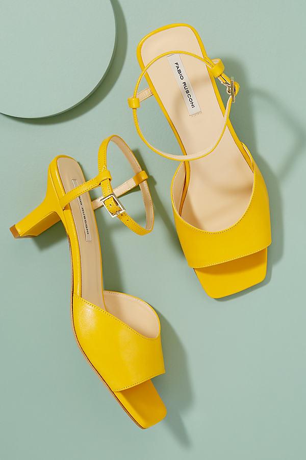Fabio Rusconi Sunny Leather Heels - Yellow, Size 37