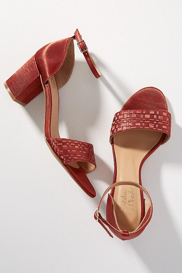 Amber Woven-Strap Silk Block Heels - Brown, Size 41