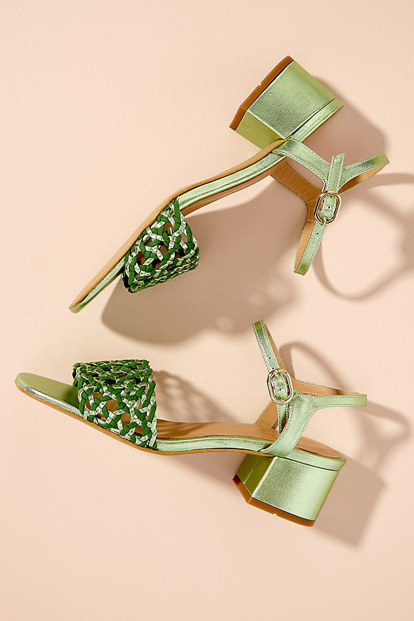 Woven-Strap Leather Block Heels - Green, Size 41