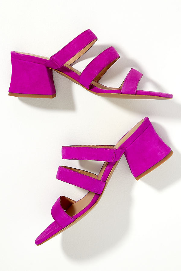 Melody Three-Strap Suede Mules - Pink, Size 37