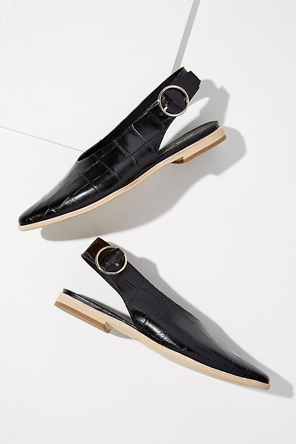 Ava Croc-Effect Flats - Black, Size 38