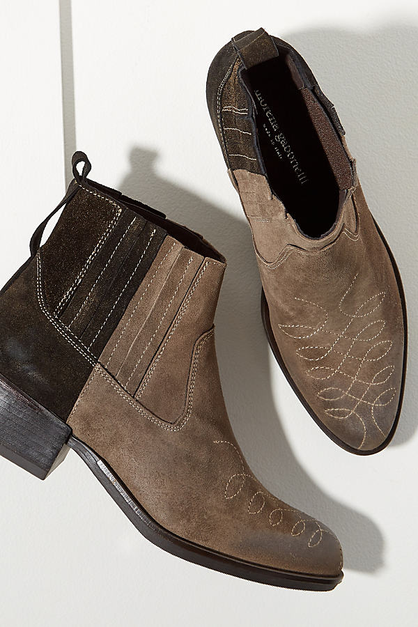 Colourblocked Suede Cowboy Boots - Black, Size 40