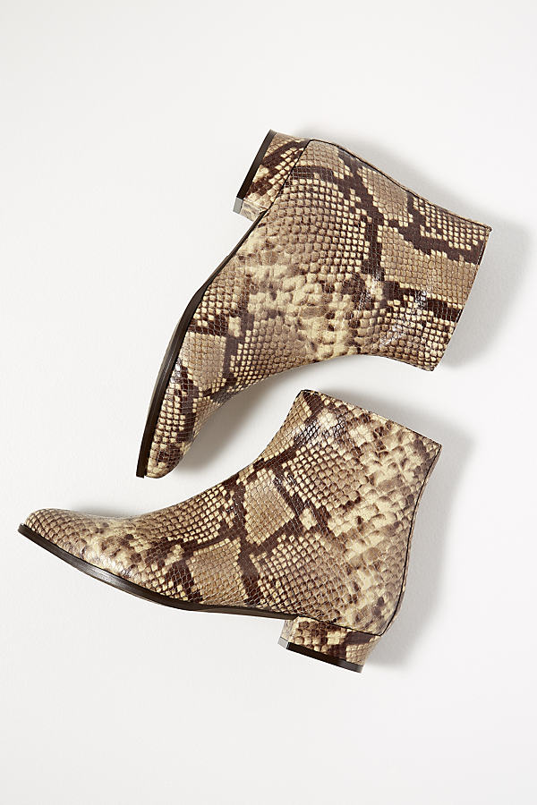 Snakeskin-Print Leather Ankle Boots - Assorted, Size 38