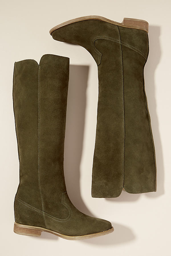 Amana Suede Knee-High Boots - Brown, Size 41