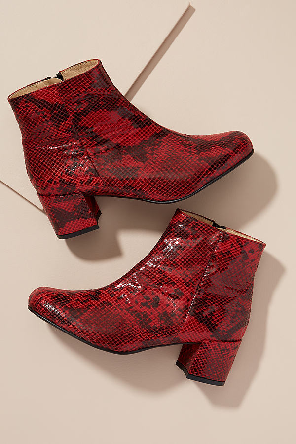 Printed Snake Ankle Boot - Red, Size 41