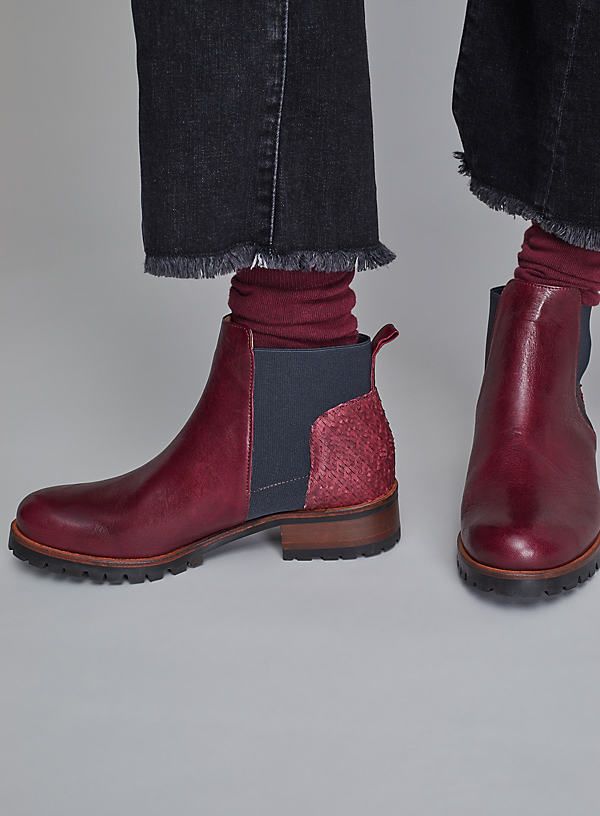 Esska Leather Ankle Boots - Wine, Size 41