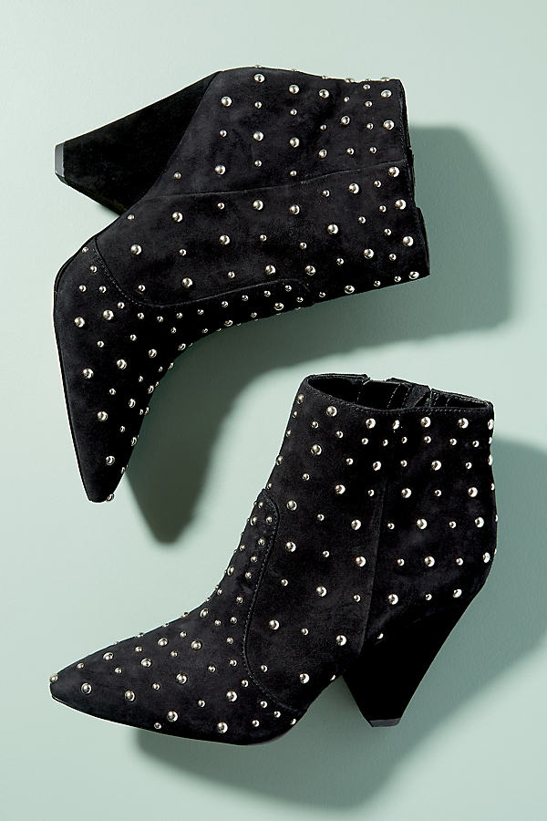 Sam Edelman Studded-Suede Ankle Boots - Black, Size 37