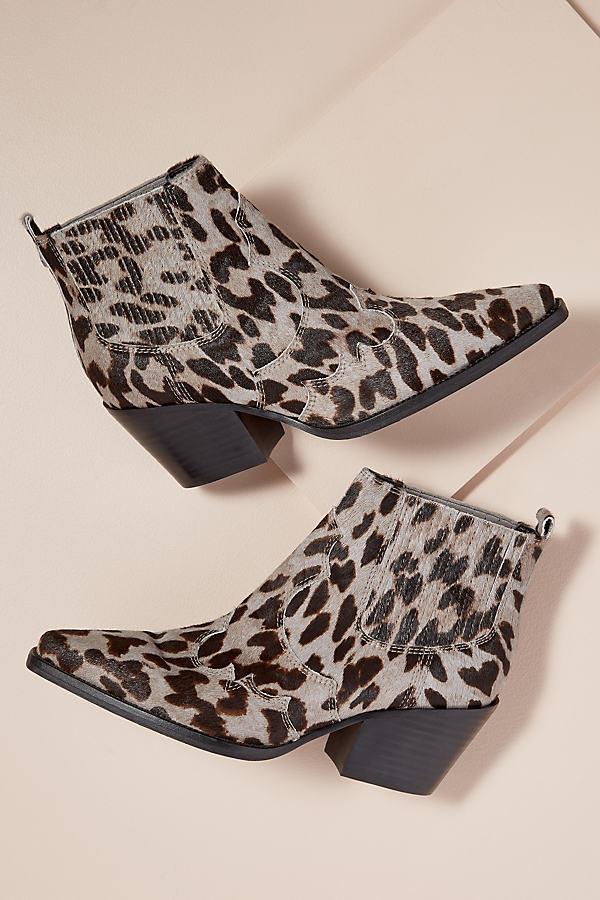 Sam Edelman Calf-Hair Leopard-Print Ankle Boots - Grey, Size 39