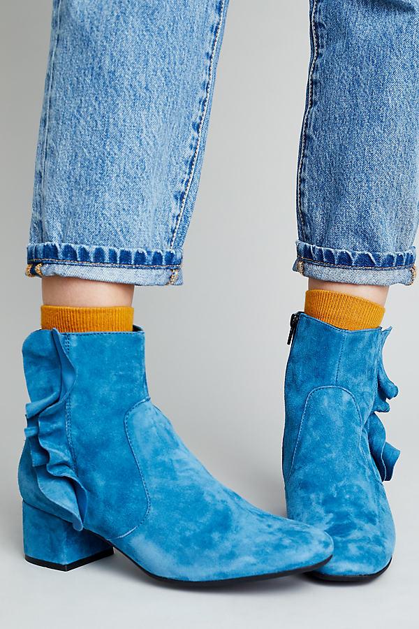 Tilda Suede Ankle Boots - Blue, Size 39