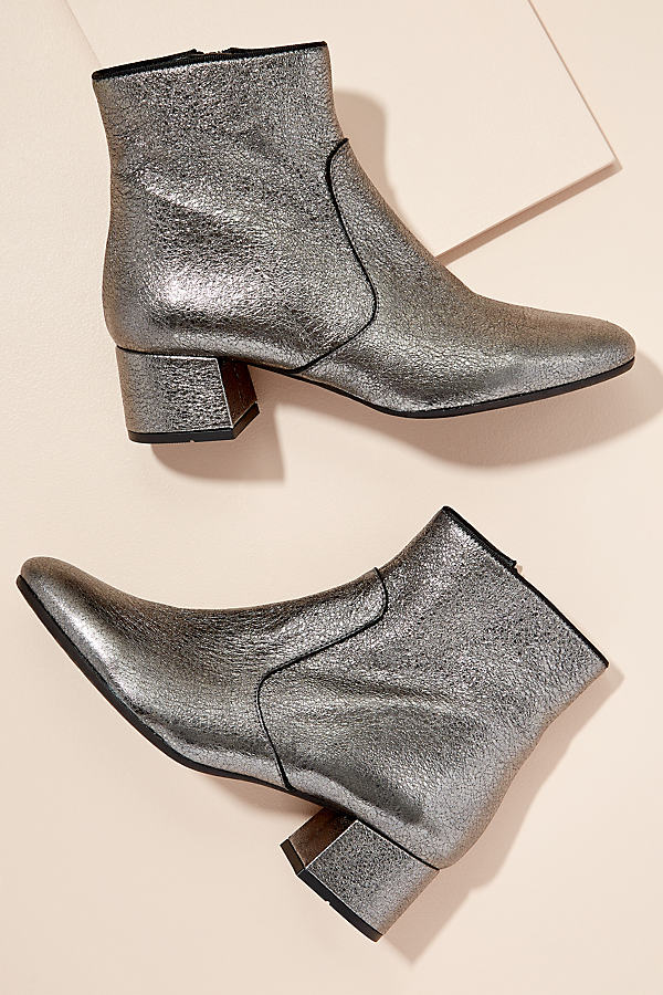 Kanna Metallic-Leather Ankle Boots - Silver, Size 41
