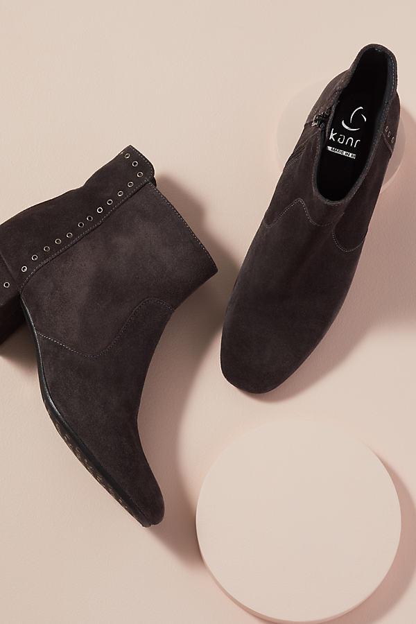 Kanna Eyelet-Embellished Suede Ankle Boots - Grey, Size 38