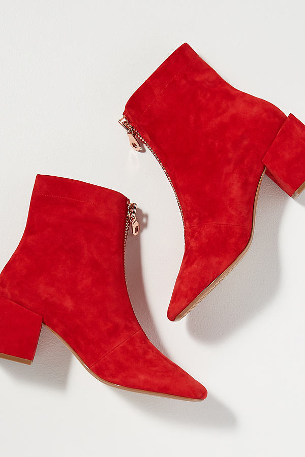 Miss L Fire Suede Ankle Boots - Red, Size 41