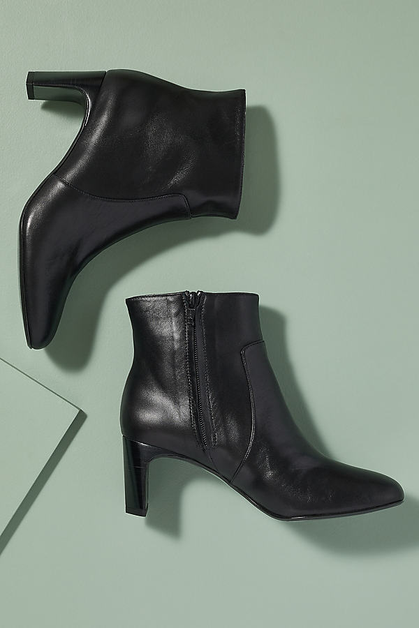 Croc-Effect Leather Ankle Boots - Black, Size 39