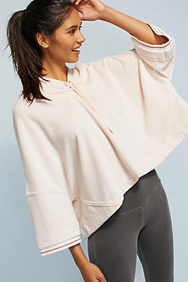 Slide View: 1: Draped Hooded Pullover