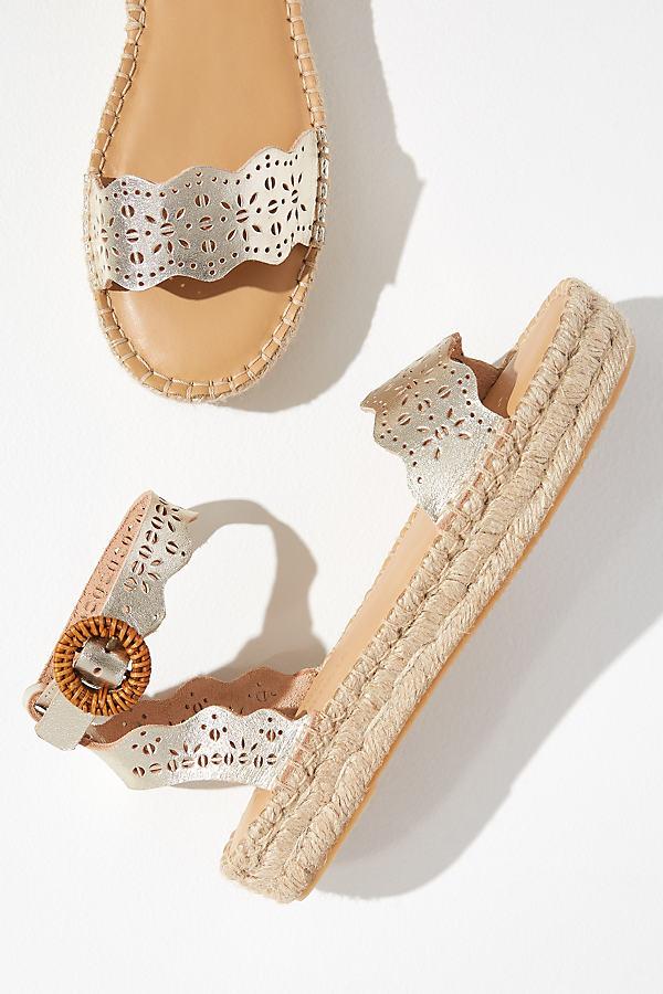 Soludos Cadiz Platform-Jute Sandals - Gold, Size 38