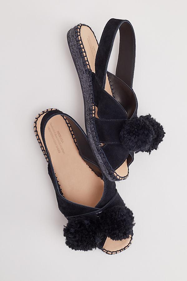 Naguisa Hel Pommed Suede Espadrilles - Black, Size 36