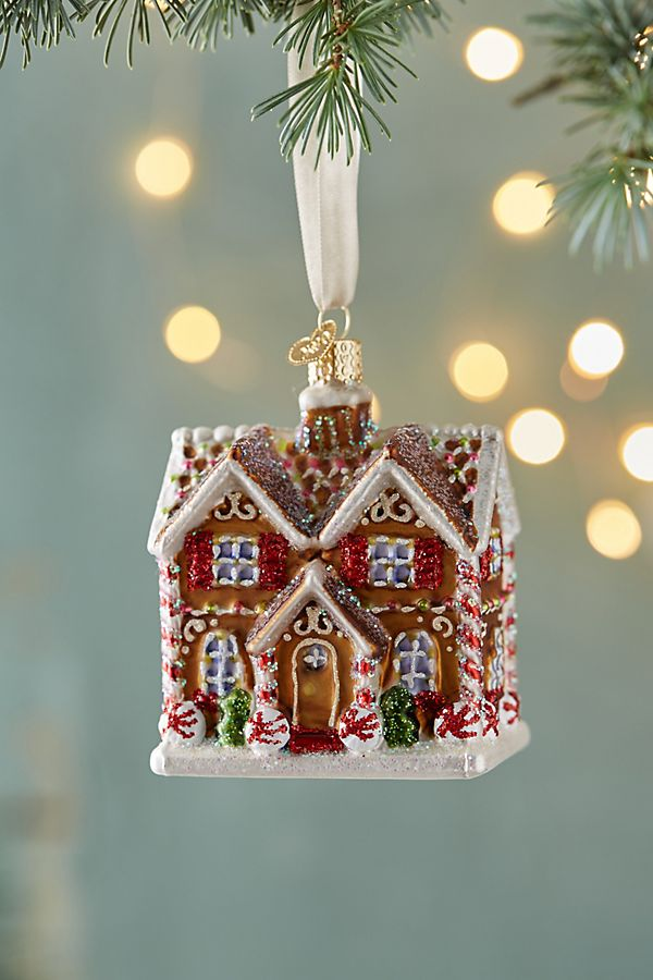 slide view 1 gingerbread house glass ornament - House Christmas Ornament