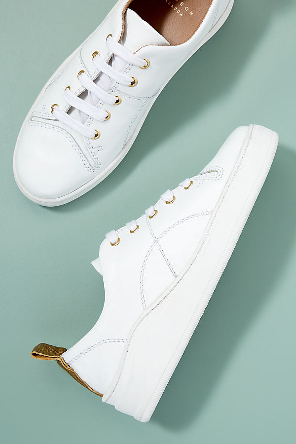Hudson London Sierra Leather Trainers - White, Size 40