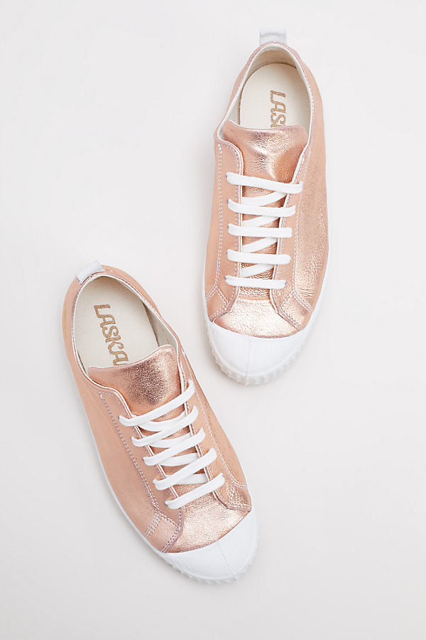 Metallic Rose-Gold Leather Trainers - Rose, Size 41