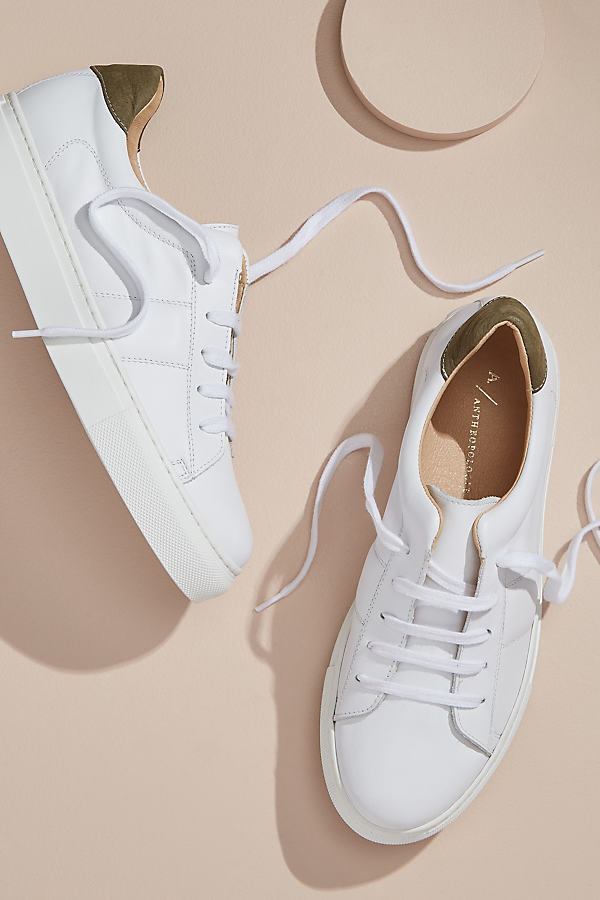 Anthropologie Netiri Leather Trainers - White, Size 37