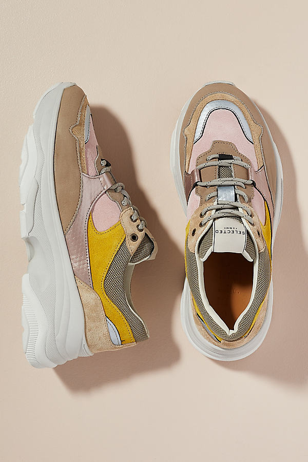 Selected Femme Colourblocked Trainers - Yellow, Size 39