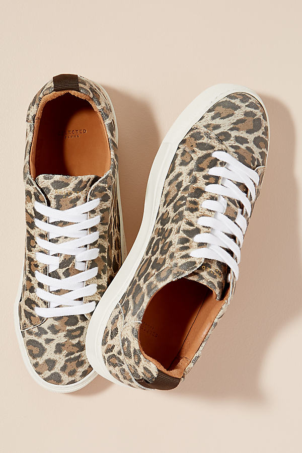 Selected Femme Leopard-Print Leather Trainers - Assorted, Size 39