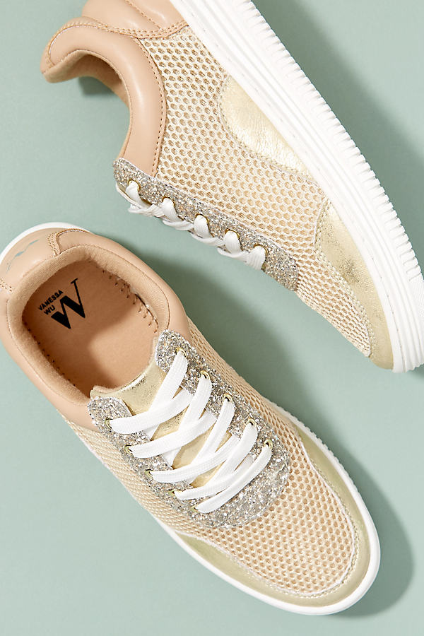 Vanessa Wu Metallic Trainers - Gold, Size 36