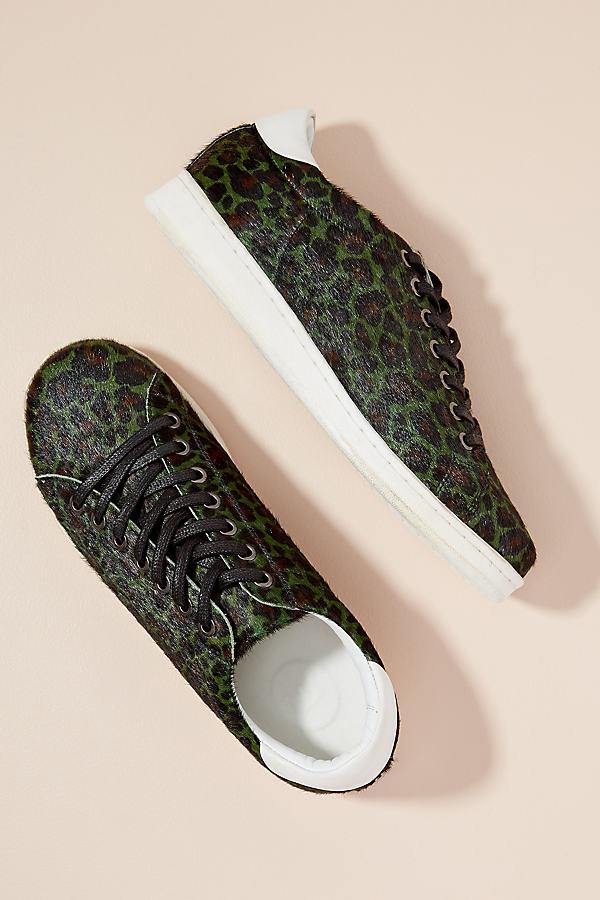 Maruti Leopard-Print Textured Trainers - Green, Size 39