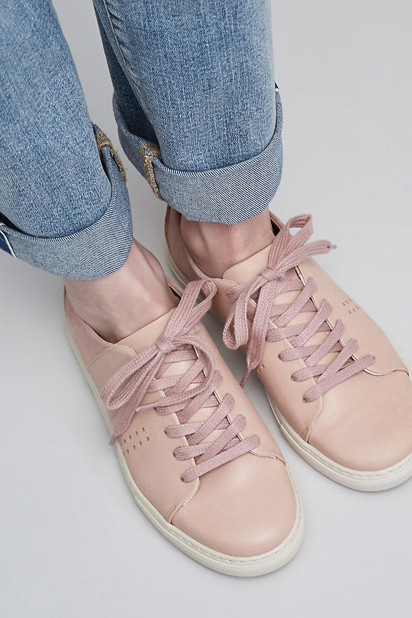 Petra Leather Trainers - Nude/chair, Size 40
