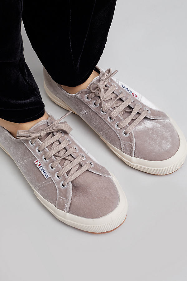 Superga Velvet Low-Top Trainers, Grey - Grey, Size 36