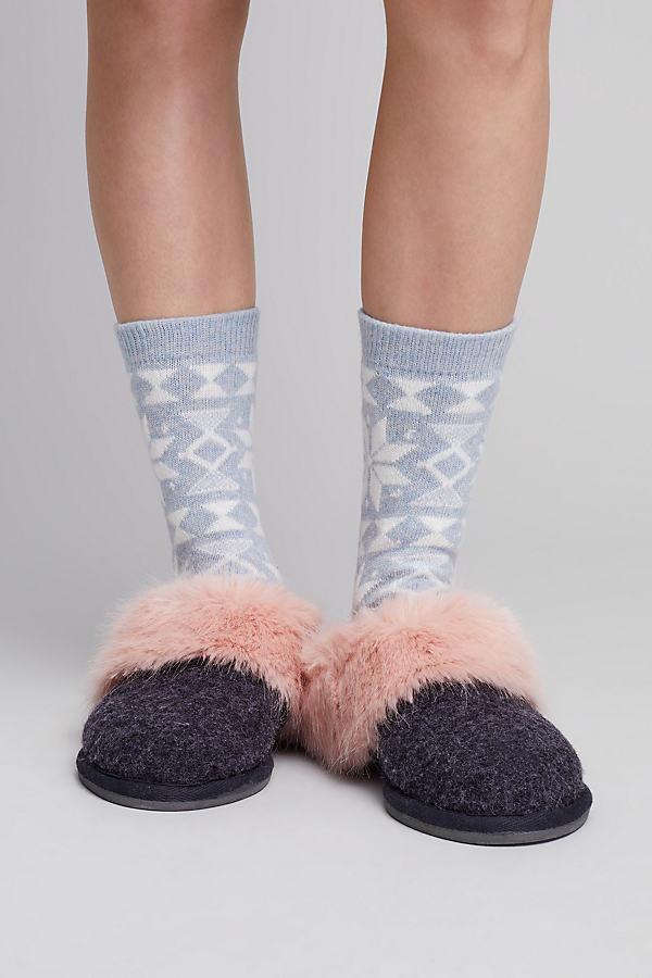 Celia Faux Fur Wool Slippers - Dark Grey, Size 41